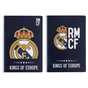 Real Madrid Blue Libreta Folio Tapa Dura