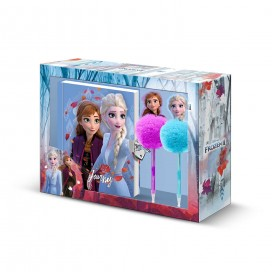Frozen Diario candado con bolis pompon