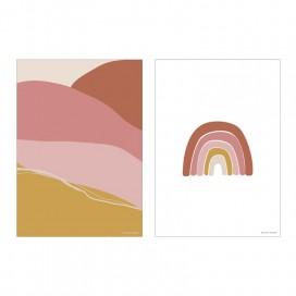 Póster doble cara rosa A3